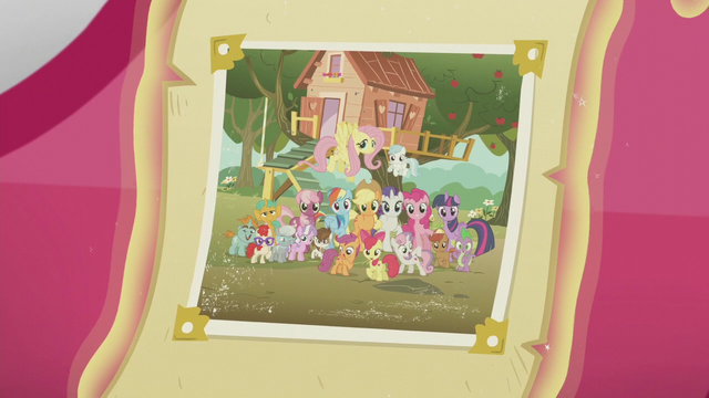 File:Photo of ponies in front of CMC clubhouse S5E18.png