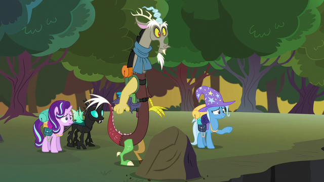 File:Trixie pointing toward the changeling hive S6E25.png