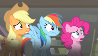 Applejack, Pinkie, and Rainbow looking off-screen S5E1