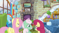 Mr. and Mrs. Shy look at each other unsure S6E11