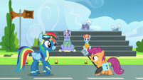 Scootaloo brings Rainbow Dash a microphone S7E7