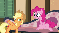 Applejack pointing to Big McIntosh S4E09