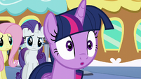 Twilight looking shocked at Shining Armor S6E1