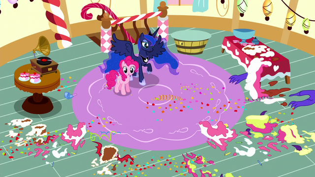 File:Pinkie and Luna surrounded by cake mess S5E13.png