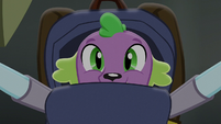 Twilight putting Spike in her backpack EG3