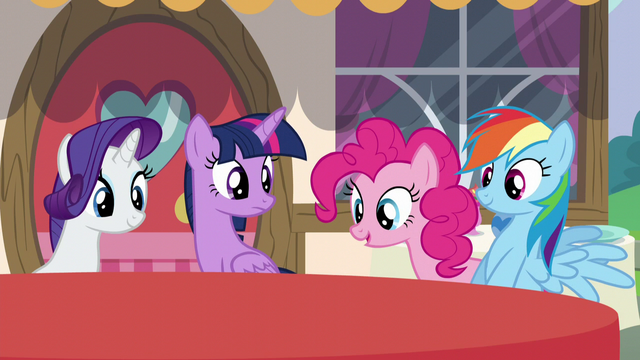 File:Main ponies watch the tablecloth change color S5E22.png