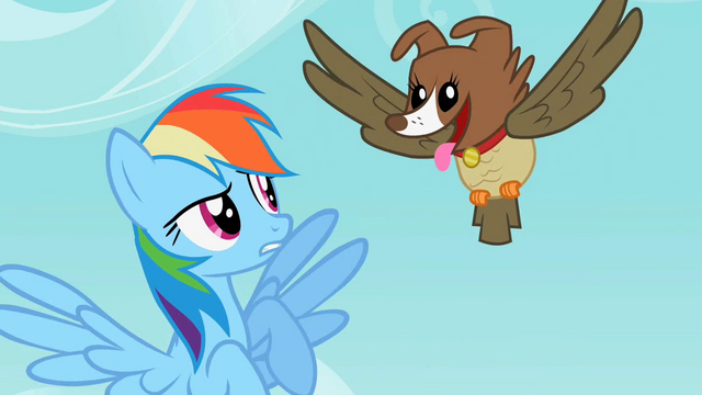 File:Rainbow Dash sees the owl and dog hybrid S2E07.png