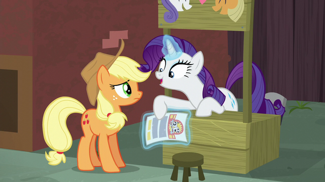 """File:Rarity """"the contact on the flyer is Coco Pommel!"""" S5E16.png"""