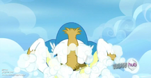Snowbalkl eating a cloud S3E7