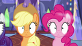 Applejack and Pinkie Pie in a trance S6E21.png
