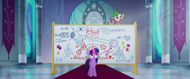Spike falls off of Twilight's whiteboard MLPTM