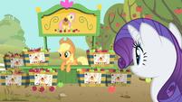 Applejack at her Fluttershy apple stand S01E20