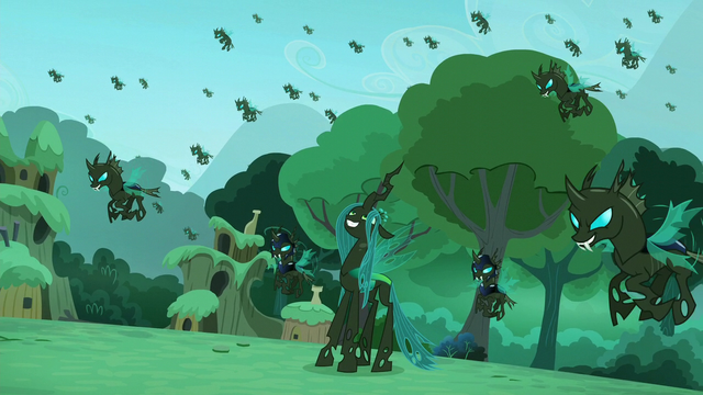 File:Chrysalis with her changeling army S5E26.png