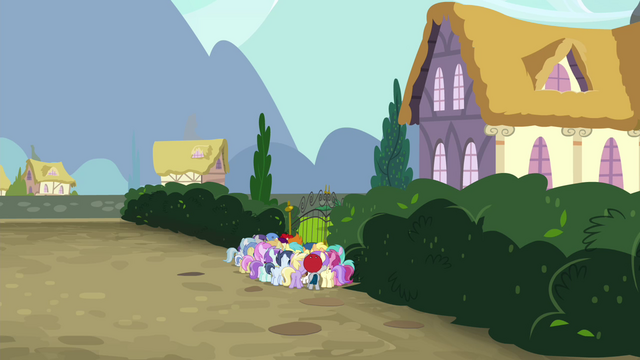 File:Angry mob of foals at Diamond Tiara's house S4E15.png