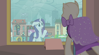 Rarity looking at the mannequin S4E08