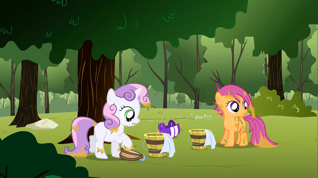 File:Buckets of water being slid over to Scootaloo and Sweetie Belle S1E23.png