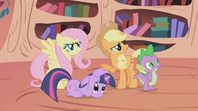 File:Fluttershy, Applejack, and Spike angry S01E03.png
