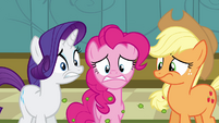 Rarity, Pinkie, and Applejack disgusted S2E16