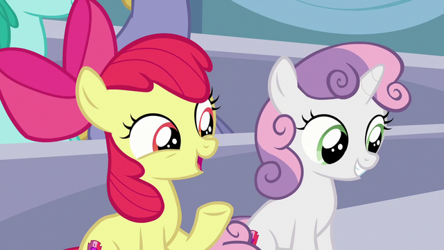 "File:Apple Bloom ""are you excited to see Rainbow Dash?"" S7E7.png"