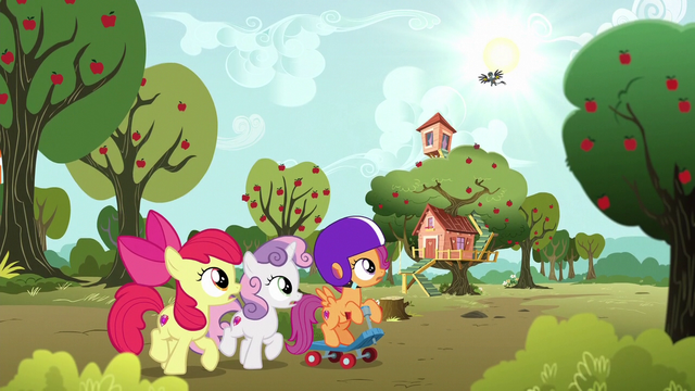 File:Cutie Mark Crusaders see Gabby returning S6E19.png