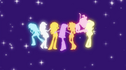 Main cast and Sunset Shimmer human silhouettes EG2