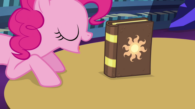 File:Pinkie Pie points out the book again EG2.png