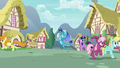 Ponies flee from Princess Ember in terror S7E15.png