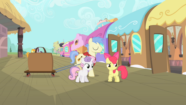 File:Apple Bloom 'She'd better get here soon!' S4E05.png