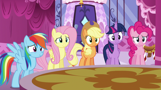 File:Main five listen happily as Rarity reads S6E9.png