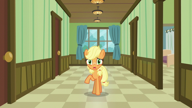 File:Young Applejack back in the hospital hallway S6E23.png