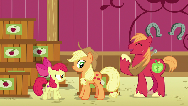 File:Applejack scrunches her face as Big Mac laughs S6E23.png