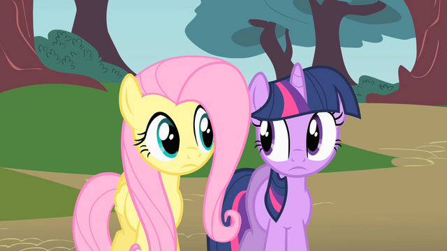 File:Fluttershy and Twilight thinking where to look for Philomena S01E22.png