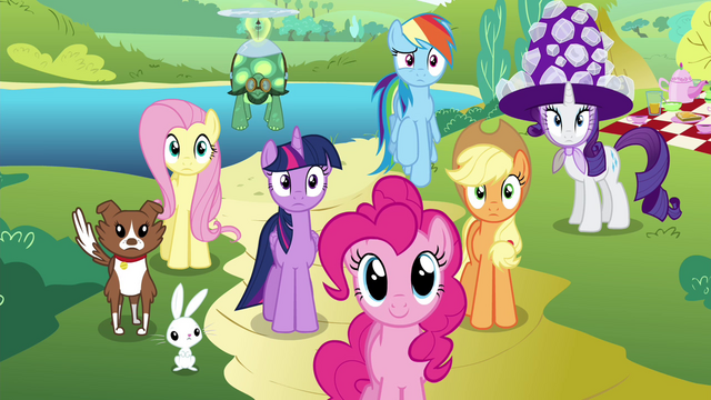 File:Mane 6 and pets waiting S4E18.png