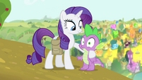 Rarity with hoof around Spike S4E23