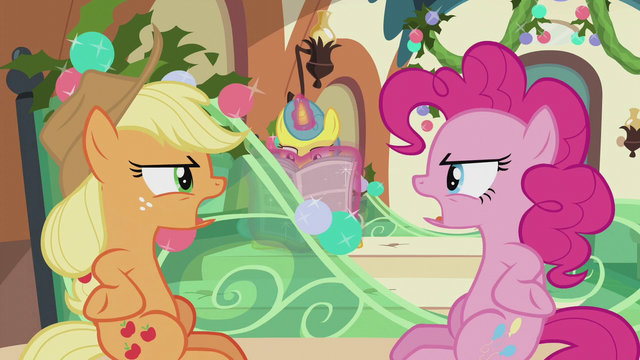 "File:AJ and Pinkie ""stop saying what I'm saying!"" S5E20.png"