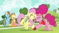 Fluttershy and Pinkie bump heads together S6E18.png