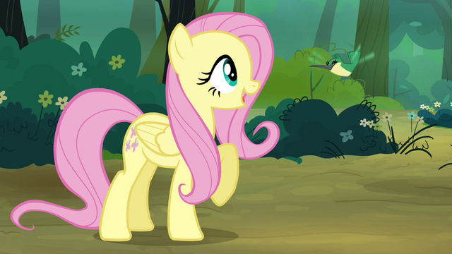 File:Fluttershy greets Hummingway S4E18.png