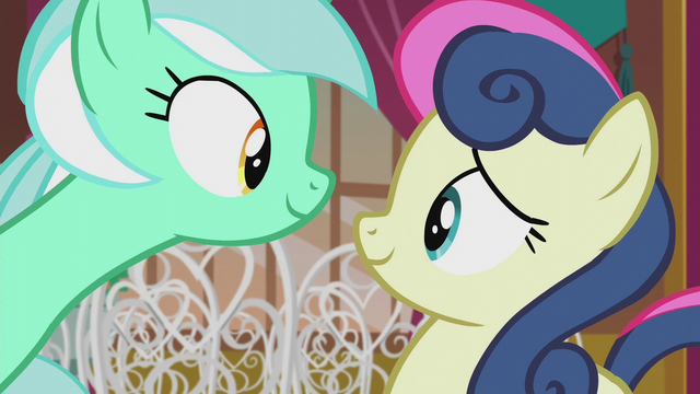 File:Lyra and Sweetie Drops smiling again S5E9.png