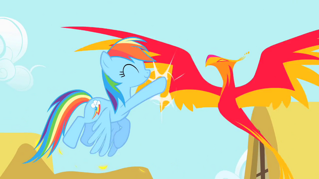 File:Rainbow Dash high-fives Philomena S1E22.png