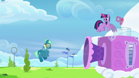 Sky Stinger blown by strong gust of wind S6E24