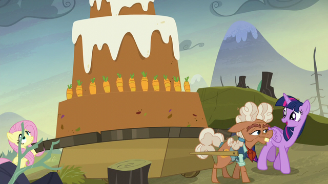 File:Fluttershy and Ma Hooffield pushing a giant carrot cake S5E23.png