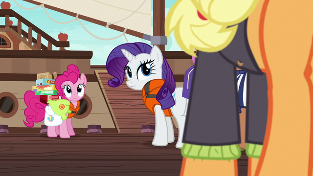 File:Pinkie Pie and Rarity look back at Applejack S6E22.png