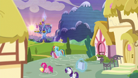 Rarity, Rainbow, and Pinkie return to the castle S5E3