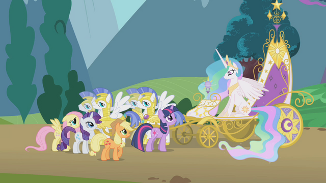 File:Twilight and friends next to Celestia's chariot S1E10.png