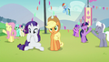 Ponies cheering for Countess Coloratura except Applejack S5E24.png