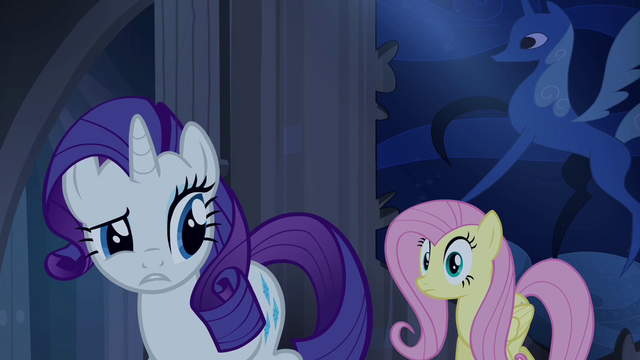 File:Rarity tells Fluttershy about the secret door S4E03.png