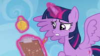 Twilight writing down Sky's poor obstacle course performance S6E24