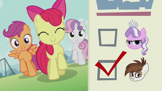 File:CMC sings 'You gotta vote for change'; ballot paper shows Pipsqueak's checkbox ticked S5E18.png