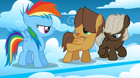 Colt Hoops pointing at filly Rainbow S1E23