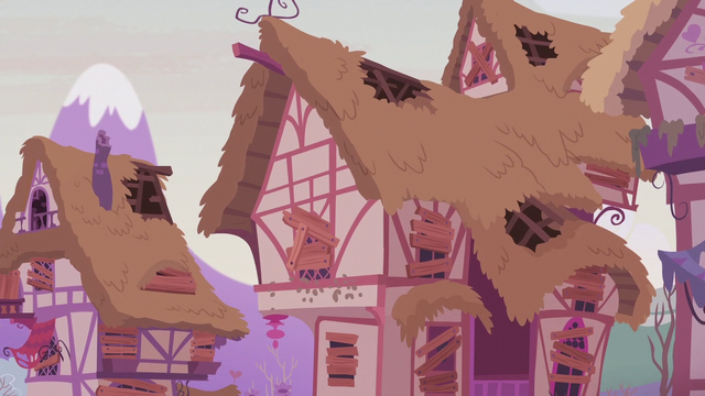 File:Ponyville houses damaged and boarded up S5E25.png